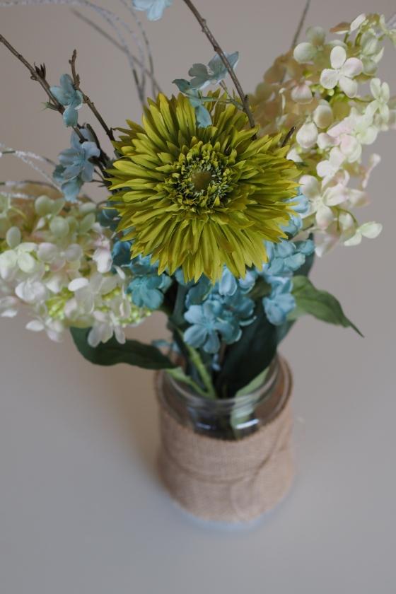 mason jar, burlap, fake flowers