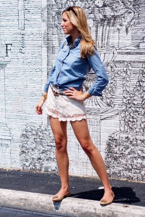 casually chic, ootd, casually chic lace and chambray